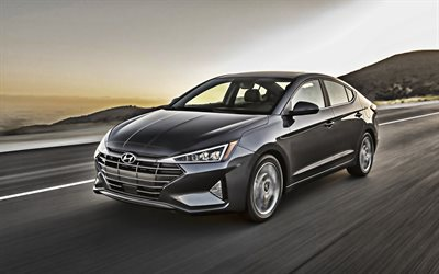 2019, Hyundai Elantra, exterior, front view, gray sedan, new gray Elantra, Korean cars, Hyundai
