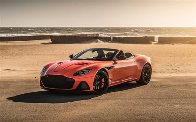 Aston Martin DBS Superleggera, 2019, luxury sports coupe, black wheels, orange new DBS Superleggera, British supercars, Aston Martin