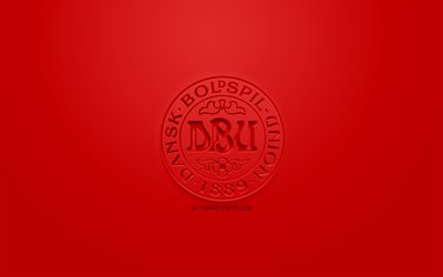 Denmark national football team, creative 3D logo, red background, 3d emblem, Denmark, Europe, UEFA, 3d art, football, stylish 3d logo