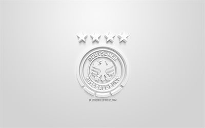 Germany national football team, creative 3D logo, white background, 3d emblem, Germany, Europe, UEFA, 3d art, football, stylish 3d logo