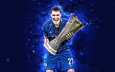 4k, Andreas Christensen with cup, Chelsea FC, danish footballers, UEFA Europa League, abstract art, soccer, football, neon lights, Andreas Bodtker Christensen, Andreas Christensen