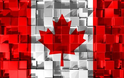 Flag of Canada, 3d flag, 3d cubes texture, Flags of North America countries, 3d art, Canada, North America, 3d texture, Canada flag