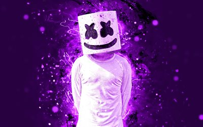 Marshmello DJ, 4k, violet neon, american DJ, superstars, Christopher Comstock, Marshmello 4K, artwork, Marshmello, music stars, creative, fan art, DJ Marshmello, DJs