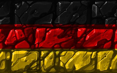 German flag, brickwall, 4k, European countries, national symbols, Flag of Germany, creative, Germany, Europe, Germany 3D flag