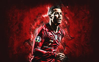 Cristiano Ronaldo, Portugal national football team, CR7, Portuguese professional footballer, portrait, red stone background, soccer, Portugal