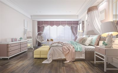 stylish interior, childrens bedroom, childrens room interior design, large bed, classic style, room for a child