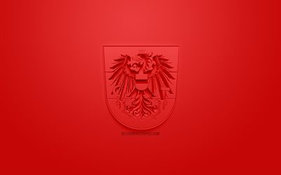 Austria national football team, creative 3D logo, red background, 3d emblem, Austria, Europe, UEFA, 3d art, football, stylish 3d logo