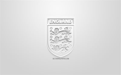 England national football team, creative 3D logo, white background, 3d emblem, England, Europe, UEFA, 3d art, football, stylish 3d logo