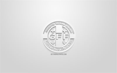 Georgia national football team, creative 3D logo, white background, 3d emblem, Georgia, Europe, UEFA, 3d art, football, stylish 3d logo