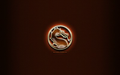 Mortal Kombat glass logo, orange background, artwork, brands, Mortal Kombat logo, creative, Mortal Kombat