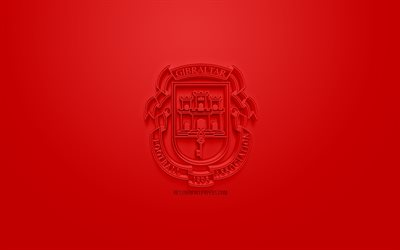 Gibraltar national football team, creative 3D logo, red background, 3d emblem, Gibraltar, Europe, UEFA, 3d art, football, stylish 3d logo