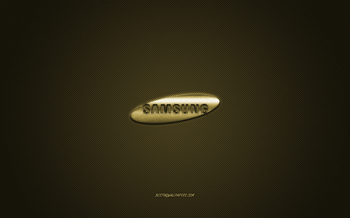 Download Wallpapers Samsung Logo Gold Shiny Logo Samsung Metal Emblem Wallpaper For Samsung Devices Gold Carbon Fiber Texture Samsung Brands Creative Art For Desktop Free Pictures For Desktop Free