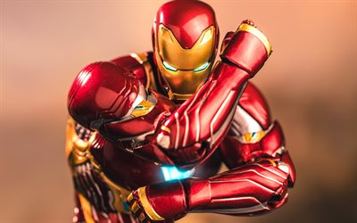 IronMan, 4k, 3D, arte, DC Comics, Iron Man, los superhéroes, IronMan en 3D