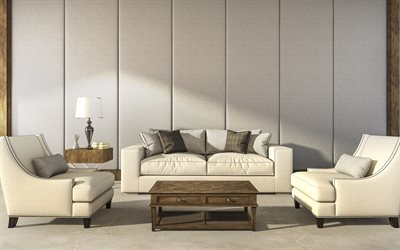 stylish interior, living room, classic style, beige leather sofa, textiles on the walls, retro style interior