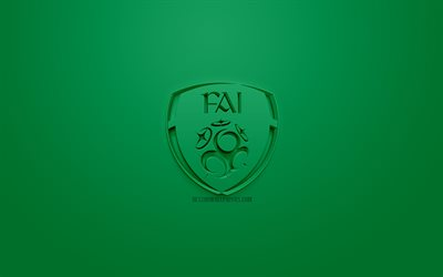 Ireland national football team, creative 3D logo, green background, 3d emblem, Ireland, Europe, UEFA, 3d art, football, stylish 3d logo