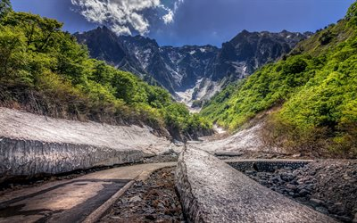 Mount Tanigawa, mountain landscape, rocks, forest, summer, Japanese mountains, mountain road, Japan, Niigata, Minakami
