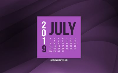 July 2019 calendar, purple wave background, 2019 calendars, July, 2019 concepts, purple 2019 July calendar