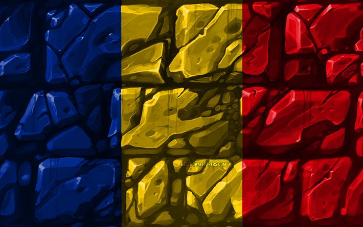 Download Wallpapers Romanian Flag Brickwall 4k European