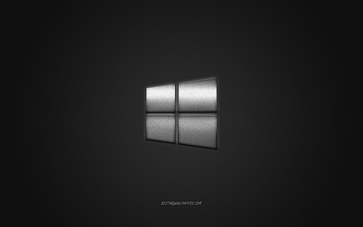 Download wallpapers Windows 10 logo, silver shiny logo