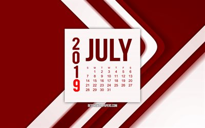 July 2019 calendar, burgundy abstract lines background, 2019 calendars, July, 2019 concepts, burgundy 2019 July calendar