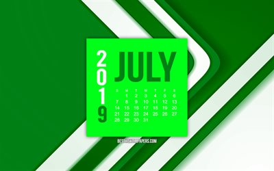 2019 July calendar, green abstract lines background, 2019 calendars, July, 2019 concepts, green 2019 July calendar