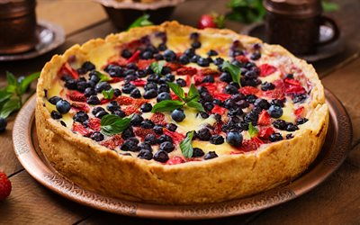 berry pie, pastries, sweets, wild berries, cake with berries, cake