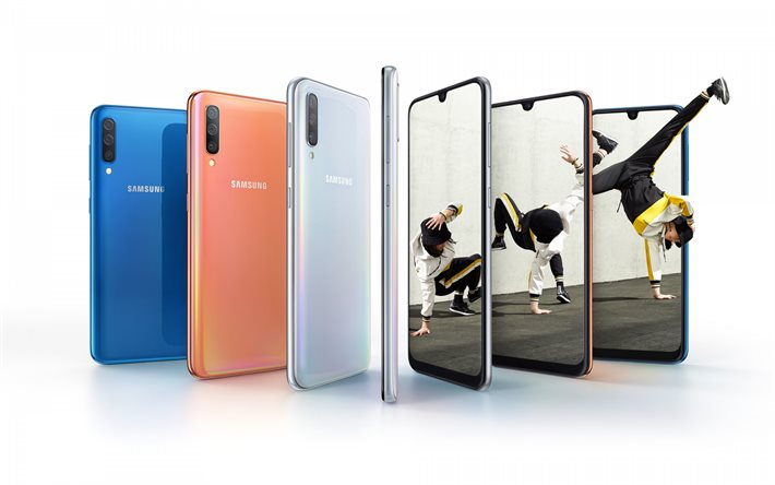 Download Wallpapers Samsung Galaxy A50 Modern Smartphone Modern Technology Smartphone On A White Background Samsung For Desktop Free Pictures For Desktop Free