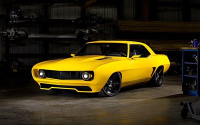 Chevrolet Camaro, garage, 1965 cars, supercars, tuning, retro cars, yellow Camaro, muscle cars, 1965 Chevrolet Camaro, american cars, Chevrolet