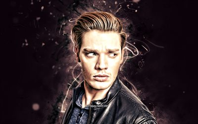 Dominic Sherwood, 2020, british actor, movie stars, fan art, Dominic Anthony Sherwood, british celebrity, violet neon lights, creative, Dom Sherwood