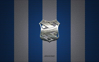 SC Heerenveen logo, Dutch football club, metal emblem, blue white metal mesh background, SC Heerenveen, Eredivisie, Heerenveen, Netherlands, football