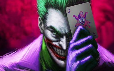 Joker with card, 4k, 3D art, supervillain, fan art, Joker, playing cards, artwork, Joker 4K