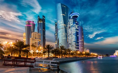 Doha, 4k, nightscapes, embankment, skyscrapers, modern buildings, Qatar, Asia, HDR