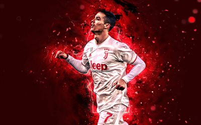 4k, Cristiano Ronaldo, red neon lights, Juventus FC, CR7, new hairstyle, portuguese footballers, Italy, Bianconeri, red uniform, soccer, football stars, Serie A, CR7 Juve