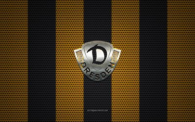 SG Dynamo Dresden logo, German football club, metal emblem, yellow black metal mesh background, SG Dynamo Dresden, 2 Bundesliga, Dresden, Germany, football