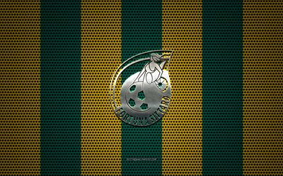 Fortuna Sittard logo, Dutch football club, metal emblem, green yellow metal mesh background, Fortuna Sittard, Eredivisie, Sittard, Netherlands, football, Sittard FC