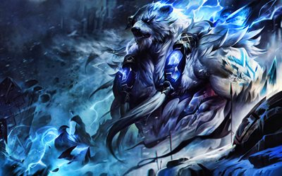 4k, Volibear, battle, MOBA, League of Legends, artwork, Legends of Runeterra, monster, Volibear League of Legends