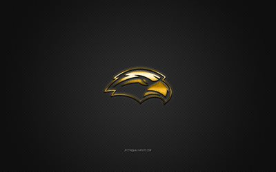 Southern Miss Golden Eagles logo, American club de football de la NCAA, logo doré, gris en fibre de carbone de fond, football Américain, Hattiesburg, dans le Mississippi, états-unis, Southern Miss Golden Eagles