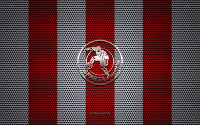Sparta Rotterdam logo, Dutch football club, metal emblem, red white metal mesh background, Sparta Rotterdam, Eredivisie, Rotterdam, Netherlands, football