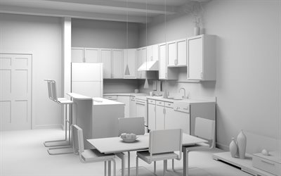 white 3d kitchen project, 3d white kitchen furniture, kitchen concepts, 3d kitchen model
