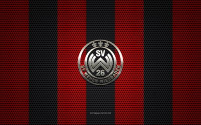 SV Wehen Wiesbaden logo, German football club, metal emblem, red black metal mesh background, SV Wehen Wiesbaden, 2 Bundesliga, Wiesbaden, Germany, football