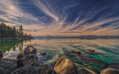 Tahoe-Järven, mountain lake, illalla, sunset, mountain maisema, lake, Sierra Nevada, USA