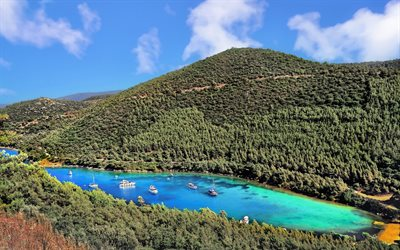 Bodrum, bay, Aegean Sea, blue lagoon, mountain landscape, forest, Turkey