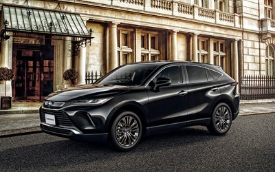 Toyota Harrier, 2020, front view, exterior, black SUV, new black Harrier, japanese cars, Toyota