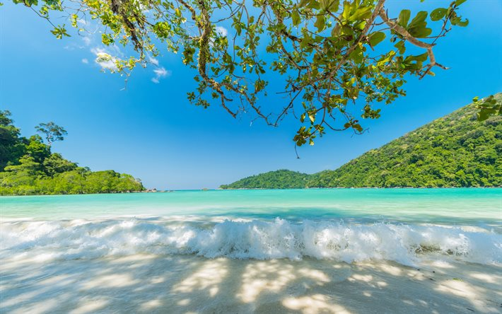 summer travel, tropical island, summer, beautiful bay, islands, waves, summer travel concepts