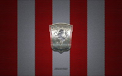FC Twente logo, Dutch football club, metal emblem, red white metal mesh background, FC Twente, Eredivisie, Enschede, Netherlands, football
