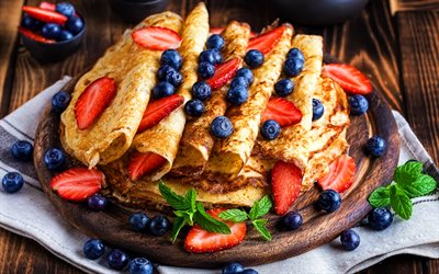 pancakes with berries, 4k, blueberries, strawberries, mint, pancakes, sweets, berries