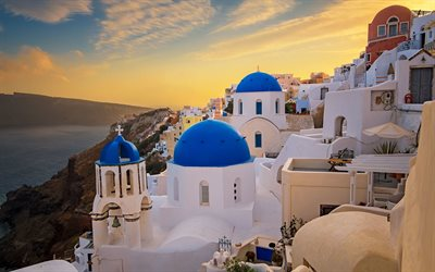 Oia, Santorini, Aegean Sea, evening, sunset, beautiful island, romantic places, Greece, islands of Thira