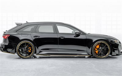 2020, Audi RS6, Mansory, side view, black station wagon, exterior, tuning RS6, German cars, Audi