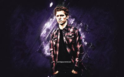 Tom Holland, English actor, portrait, purple stone background, creative art, Thomas Stanley Holland