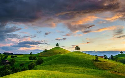Swiss nature, 4k, green hills, sunset, summer, Canton of Zug, Switzerland, Europe, beautiful nature